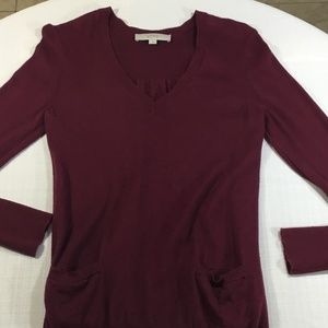 Ann Taylor Loft Long Sleeve Sweater Maroon Small